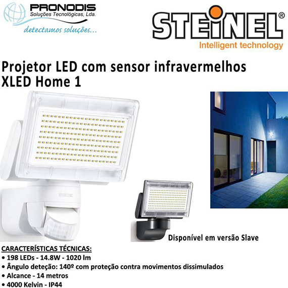 projetor led com sensor de infravermelhos xled home 1 da steinel atra. Black Bedroom Furniture Sets. Home Design Ideas