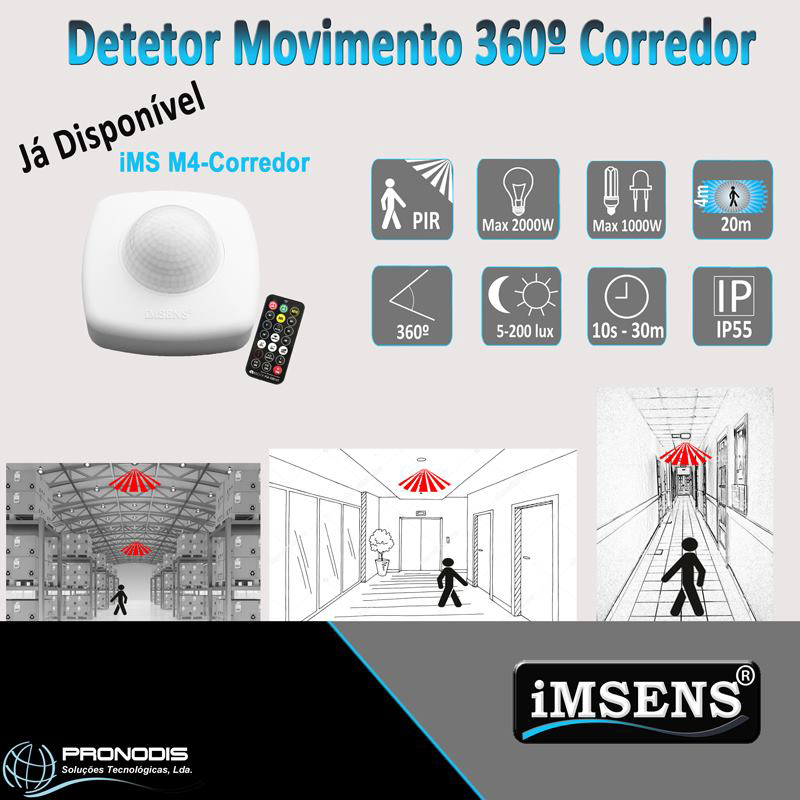 Detetor de Movimento 360 Corredor